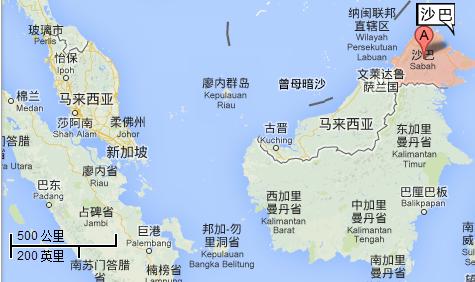 4)沙巴地理位置(距离吉隆坡,新加坡的距离)